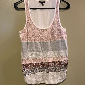 Express pink gray white sparkly tank small
